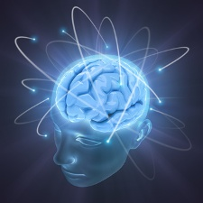Electrons revolve around the brain. Concept of idea
